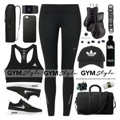 """""""Gym Essentials"""" by palmtreesandpompoms ❤ liked on Polyvore featuring adidas, NIKE, Elisabeth Weinstock, M Z Wallace, Forever 21, Topshop, Fitbit, MICHAEL Michael Kors and Jura"""