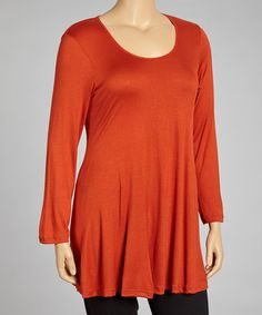 Take a look at this Rust Long-Sleeve Tunic - Plus by 24/7 on #zulily today!