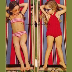 A vintage crochet pattern scanned and emailed as a PDF. Two little swimming costumes for little girls. A crochet bikini and a knitted swimsuit- both very easy to do and both very cute! Bikini approx 18 inch hip Swimsuit approx 25inch chest Please look at our SunSuit Section