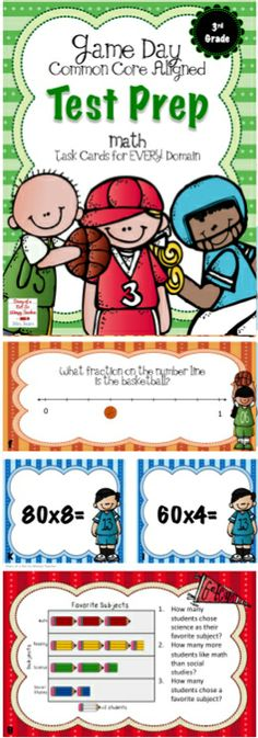 Thirteen sets of third grade math task cards! They cover every domain in the Common Core Standards! Perfect for test prep or to use throughout the year.