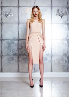 Halter neck jersey dress with stitched satin contrast details to neck, waistband & hip double split skirt feature
