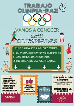 Trabajo Olimpia-Paz Flipped Classroom, Olympic Games, Physical Education, Physics, Activities, Teaching, School, Frases, Healthy Eating For Children