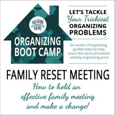 Welcome to Organizing Boot Camp where you will be trained to organize and get a great jump-start on organizing some trouble spots in your home. The next six weeks will be as good as you make it. Don't hold yourself back. Don't wait until you live in your future dream-home to get organized. Having an organized home is about so much more than just looks – it's about making the day-to-day grind easier and life better. Start now.}