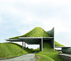 Architecture exterior design project grass green roof Landscape architecture //