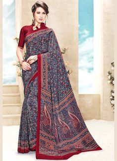 We offer huge and low price collection of designer saree and also provide worldwide free shipping. Shop this deserving faux crepe print work printed saree.