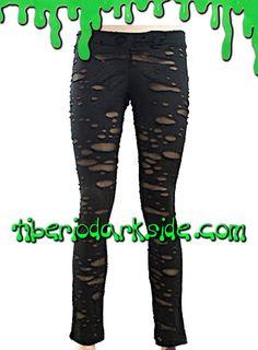 BLACK RIPPED LEGGINGS  Leggings punk de malla negra con agujeros y media debajo. Cinturilla elástica. Marca: Punk Rave.  COLOR: NEGRO TALLAS: XL  XL - 78 a 82 cm cintura, 98 a 102 cm cadera (talla 42)