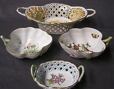 Herend leaf shaped dishes and baskets