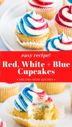 Red, white, and blue cupcakes are a simple but delicious treat for the Fourth of July or Memorial Day. These easy cupakes are always a hit at parties! Cupcake Recipes, Baking Recipes, Dessert Recipes, Party Recipes, Meat Recipes, Breakfast Recipes, Dinner Recipes, Homemade Vanilla Cupcakes, Vanilla Buttercream