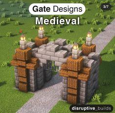Minecraft Wall, Minecraft Mansion, Minecraft Cottage, Easy Minecraft Houses, Minecraft Castle, Minecraft Medieval, Minecraft Plans, Minecraft House Designs, Minecraft Decorations