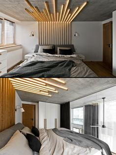 Home Designing (via Chic Scandinavian Loft Interior) Interior Ceiling Design, Bedroom False Ceiling Design, Bedroom Wall Designs, Modern Bedroom Design, Home Room Design, Bed Design, Bedroom Decor, House Design, Scandinavian Loft