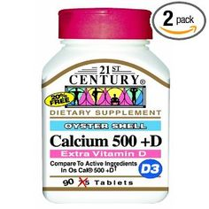 21st Century Calcium 500 Mg +D (Oyster Shell) Tablets, 90 Count (Pack of 2). Strengthen bones with this bone-building duo from 21st Century. Calcium 500 + D is a once a day calcium and vitamin D3 supplement. Adequate calcium as part of a healthful diet, along with physical activity, helps support bone health and maintenance. Adequate calcium is important for overall health. Vitamin D is essential for use of calcium and necessary for healthy bones, teeth and cartilage. No added sugar, salt…