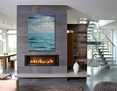 Contemporary fireplace designs will be needed when you are going to apply a fireplace in the living room. Actually, anything must be suited with the style when you are about to design the interior of the room, including the fireplace. Minimalist Fireplace, Linear Fireplace, Fall Fireplace, Fireplace Hearth, Living Room With Fireplace, Fireplace Surrounds, Fireplace Ideas, Mantel Ideas, Tiled Fireplace
