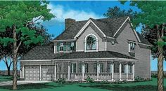 Country Style House Plans - 2475 Square Foot Home , 2 Story, 4 Bedroom and 2 Bath, 2 Garage Stalls by Monster House Plans - Plan 10-389