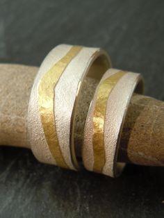 Hochzeitsringe-Traurine *LEBENSFLUSS* Silber-Gold von MARLUNA - Individuelle Trauringe und Schmuck auf DaWanda.com