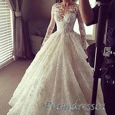 Creamy lace prom dress with sleeves, ball gowns wedding dress www.promdress01.c... #coniefox #2016prom