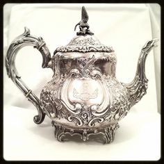 Edwardian Silver Teapot | Sterling Antique Chased | Pilling London #AntiqueSilver  #RareAntiques   $1599 SOLD http://www.rubylane.com/item/918511-GN388/Edwardian-Silver-Teapot-x7c-Sterling