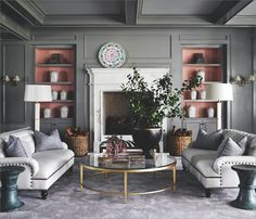 "As seen in SDHGL October 2013's Fall Interior Design Report: Designed by Jeffrey Alan Marks, a La Jolla living room in serene Parisian gray with accents of pink is featured in his book ""The Meaning of Home"" (Rizzoli New York). Photo by Douglas Friedman. #interior #design #gray"