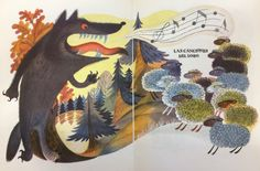 """B. Zakhoder """"Las Canciones Del Lobo (How Wolf sang the songs)"""", Drawings by V. Chizhikov. (In Spanish). 8''x10'', Paperback, 10 Pages, 13 Illustrations — 1973"""