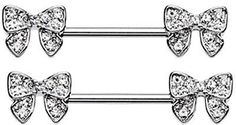 Nipple Bar  Dainty Bow-Tie Sparkle Nipple Barbell Ring Sold as pair