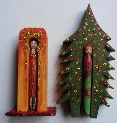 Peg Shrines. Creepy, Folk, Boxes, Christmas Ornaments, Holiday Decor, Frame, Home Decor, Frames, Dioramas