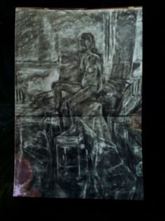 Charcoal life drawing by Zoe Bailey ...art college 90s