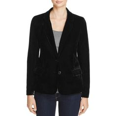 cupcakes and cashmere Toby Velvet Blazer (5.420 RUB) ❤ liked on Polyvore featuring outerwear, jackets, blazers, black, cupcakes and cashmere, tailored jacket, velvet jacket, two button blazer and blazer jacket