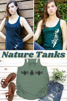 Get cool nature tanks to wear hiking, camping, or gardening this Summer!