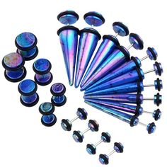 36 Pieces Taper Kit Glitter Violet Tapers Plugs All Sizes The Sparkle Stretching 14g 00g 18 Pairs Pinterest Violets