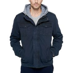 Men's Levi's Sherpa-Lined Hooded Military Trucker Jacket, Size: Small, Blue Revival Clothing, Lined Denim Jacket, Jean Vest, Stylish Jackets, Casual Jackets, Sherpa Lined, Leather Men, Leather Jackets, Jacket Style