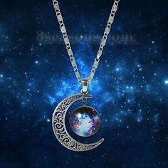 Wholesale New Fashion Galaxy Universe Crescent Moon Glass Cabochon Pendant Necklace Scroll Chain Silver Tone Multicolor – 8seasons.com