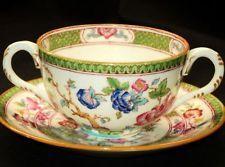 CAULDON ROYAL ENGLAND ANTIQUE TEA CUP AND SAUCER CREAM SOUP BOWL