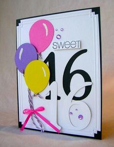 Sweet 16 by Pam MacKay – Cards and Paper Crafts at Splitcoaststampers - Modernes 16th Birthday Card, Old Birthday Cards, Birthday Card Design, Bday Cards, Teen Birthday, Handmade Birthday Cards, Birthday Parties, Paper Cards, Kids Cards