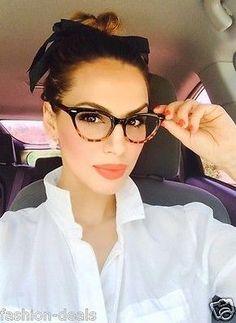 $11 ---------Cat Eye BLACK Tortoise Bottom Gradient Ombre Eyeglasses Clear Lens in Clothing, Shoes