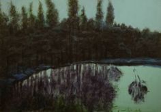 """Saatchi Art Artist Nehmat Jabre Boudagher; Painting, """"reflections in a pond"""" #art"""