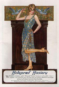 "Coles Phillips illustration for Holeproof Hosiery ad in ""World's Work,"" February Vintage Advertisements, Vintage Ads, Vintage Images, Vintage Posters, Vintage Ephemera, Vintage Style, Art Nouveau, Vintage Vogue, Vintage Fashion"