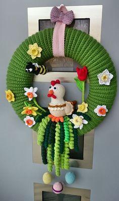 63 Wzór pozyskany z www. Crochet Robin, Crochet Eyes, Bag Crochet, Easter Crochet, Crochet Home, Cute Crochet, Crochet Crafts, Crochet Projects, Crochet Wreath