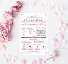 Printable Pink Programs  Modern Wedding Ceremony by PaperPeachShop