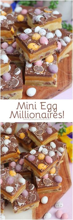 Easy Mini Egg Millionaires Shortbread, perfect for Easter. Buttery Shortbread dotted with Mini Eggs, Homemade Caramel, Chocolate and even more Mini Eggs! Easy Holiday Cookies, Holiday Treats, Holiday Recipes, Holiday Desserts, Baking Recipes, Dessert Recipes, Baking Ideas, Desserts Ostern, Easter Recipes