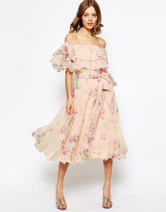 ASOS Floral Bardot Off The Shoulder Midi Prom Dress With Multi Ruffle