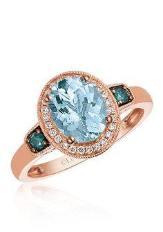 Le Vian® Sea Blue Aquamarine™, Vanilla Diamond®, and Blueberry Diamond® Ring in 14k Strawberry Gold®