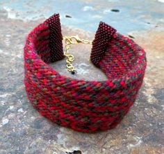 Rosa, handmade kumhimo cuff with adjustable clasp