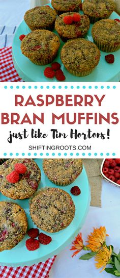 Every year I can't wait until Tim Hortons serves Raspberry Bran Muffins. They're my favourite! I developed this easy copycat recipe to fill the craving. Healthy, delicious, and perfect for snacks and back to school lunches. Best Dessert Recipes, Fruit Recipes, Breakfast Recipes, Appetizer Recipes, Snacks Recipes, Breakfast Items, Desserts, Drink Recipes, Yummy Recipes