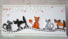quilled cats card -I want to learn how to do this!