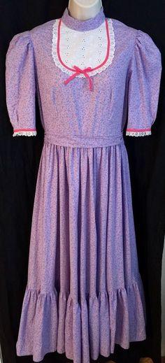 HANDMADE Womens Dress M Vintage Prairie Pioneer Colonial Calico Floral Purple  | eBay