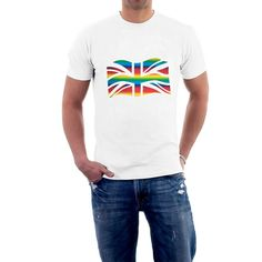 Rainbow Flag, Union Jack, Gay Pride, Cotton Tee, Cool Pictures, Tees, Mens Tops, T Shirt, Fashion