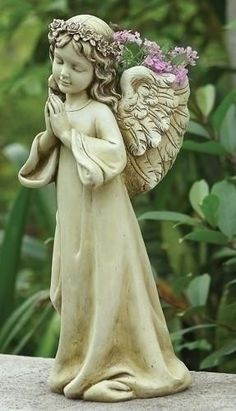 "Angel Child Planter Garden Or Home Joseph Studios 16"" Tall A Child's Prayer for Morning - Author Unknown Now, before I run to play, Let me not forget to pray To"