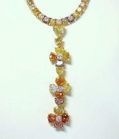 EDIBLE!!!!! Natural, fancy colored diamonds in LeVian Fancy Diamond Neckpiece