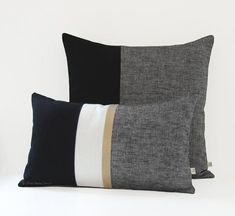 Black Chambray Decorative Pillow Cover Set of 2 with Gold Stripe: and by JillianReneDecor - Black and White Colorblock Pillows - Home Decor :: Black + White - Cream Pillow Covers, Cream Pillows, Black Pillows, Gold Pillows, Diy Pillows, Decorative Pillow Covers, Modern Pillows, Nautical Pillows, Pillow Room