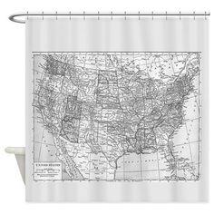 Best Map Of Australia Shower Curtain Vintage Fabric