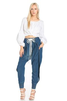 Denim Belted Joggers
